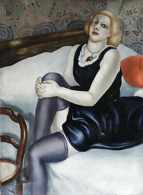 1930's HUGE ECOLE DE PARIS ART DECO OIL ON CANVAS - GIRL IN STOCKINGS ON BED