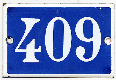 Old blue French house number 409 door gate plate plaque enamel steel metal sign