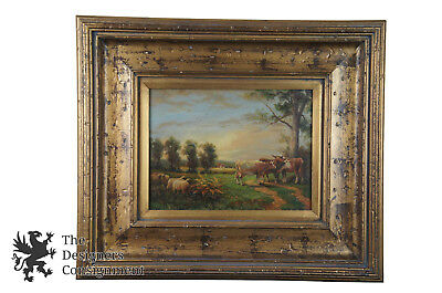 W. Kerckhoven Reproduction Signed Oil Painting Dutch Landscape Cows Sheep 28""