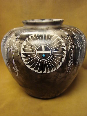Native American Indian Pottery Horse Hair Pot by Gary Yellow Corn Louis! Acoma P