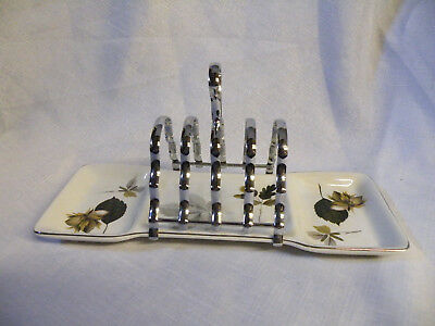 Vintage Stylecraft Metal & ceramic Toast Rack With Preserve Dishes