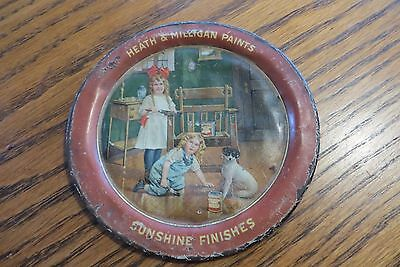 original 1900's HEATH & MILLIGAN PAINTS & SUNSHINE FINISHES TIN LITHO TIP TRAY