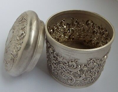Superb Large Decorative English Antique 1905 Solid Sterling Silver Tea Canister