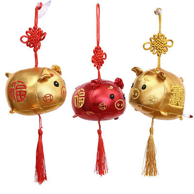 2019 Chinese Zodiac Pig New Year Gift Plush Doll Toys Sucker Pendant Hanging Toy