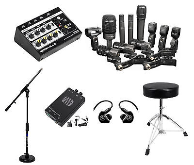 Audio Technica ATM-DRUM7 Drum Microphone Kit+Mixer+Stands+In-Ear Monitors+Amp