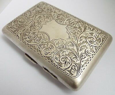 Handsome Large Decorative English Antique 1917 Solid Sterling Silver Cigar Case