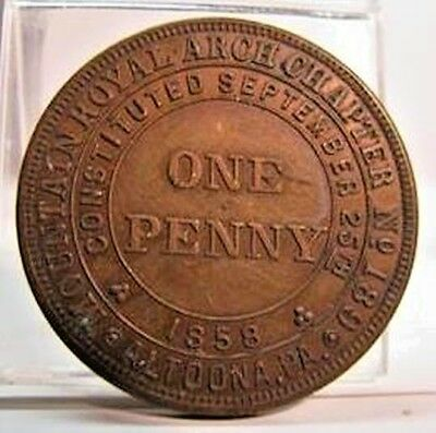 Vintage Altoona Pa Mountain Royal Arch Chapter No. 189 Copper Penny Token