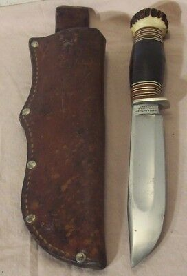 """1900's~WADE & BUTCHER~6"""" PIONEER MODEL HUNTING & FIGHTING KNIFE w/STAG POMMEL~"""