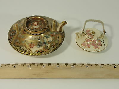 2 Antique Japanese Miniature Hand Painted Signed Satsuma Pottery Teapots, NR