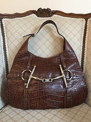 d184d299c8a9 GUCCI BAG 85TH Anniversary Hobo Limited Edition Croc Print Leather ...