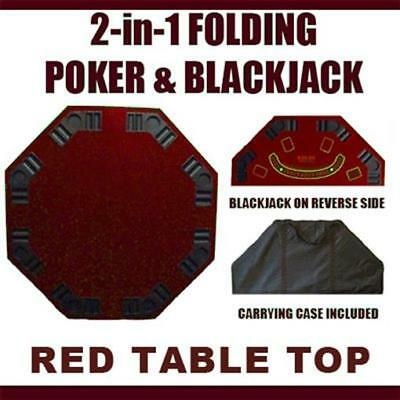 Brybelly Holdings 2-in-1 Red Folding Poker & Blackjack Table Top with Case