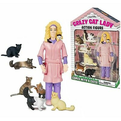 """Crazy Cat Lady 5.25"""" Action Figure Set with 6 Cats Kittens by Accoutrements"""