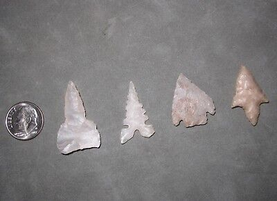 4 Authentic Native American Arrowheads from Shipley's Minerals, Gem Village CO.