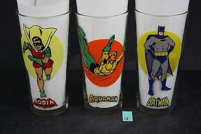 Vintage DC 1976 Pepsi Super Series Glasses Batman Robin Aquaman 3x LOT PS3