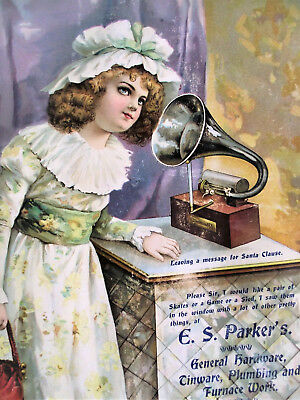 "Victorian Christmas Edison Bell Phonograph Recorder 15"" Advertising Trade Sign"