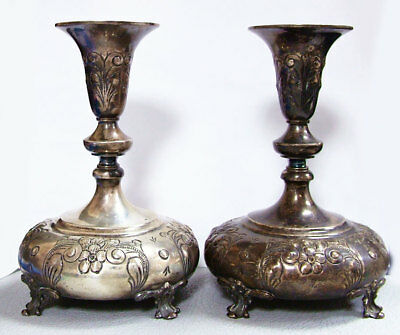 Pair Vintage Durham Sterling Silver Hand Chased Footed Candlesticks 14.6 Oz