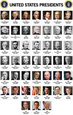 Presidents of the United States Chart Classroom Poster 12x18