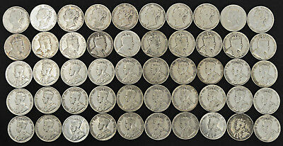 Lot of 50 Newfoundland 50 cent coins - 10 different dates