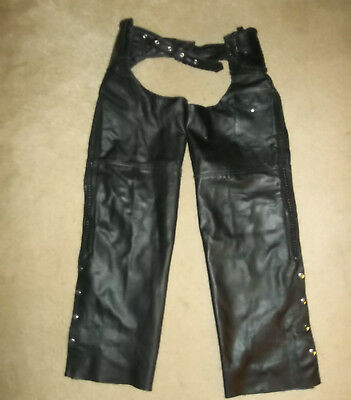 Men's Size 2Xl~Genuine Leather Co~Motorcycle Chaps~Braided Trim~New