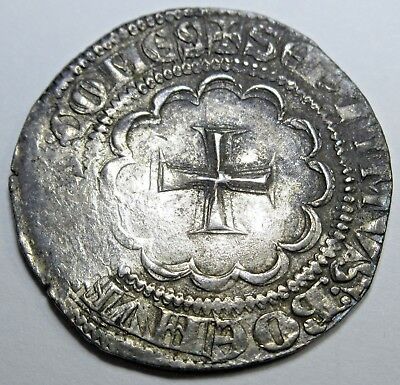 Double Struck Tripoli Syria Crusader 1275-87 1/2 Gros Cross Coin Bohemond VII