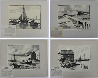 Antique Early 20thC Pencil Signed GORDON GRANT Sailboats Fish Shack Lithographs
