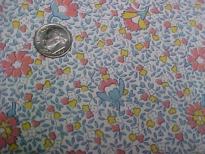 Vintage Antique Cotton Quilt Doll Fabric Blue Pink Floral 30s Depression Era Sew