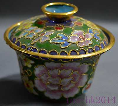 Collectable Handwork Cloisonne Carving Blooming Flower Decor Auspicious Tea Cup