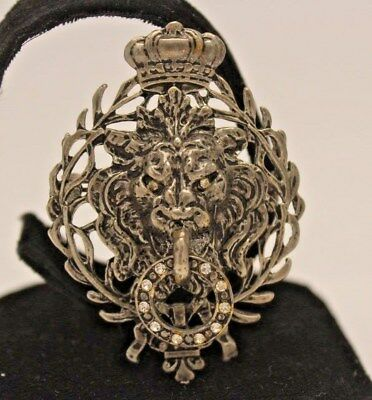 Vintage Lion Head with Crown & bring in mouth silver tone Brooch Pin