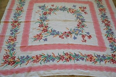 Vintage Tablecloth Flowers & Cattails Pink Border Early