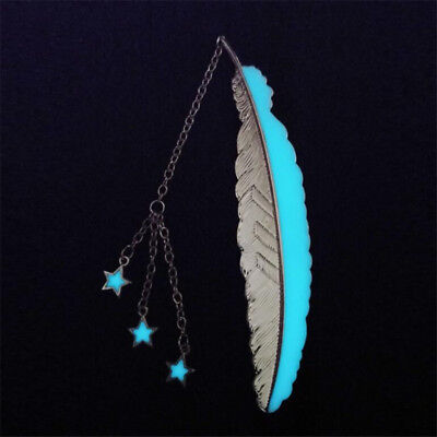 Silver Color Meteor Three Stars Shape Feather Luminous Bookmark Book Marker S