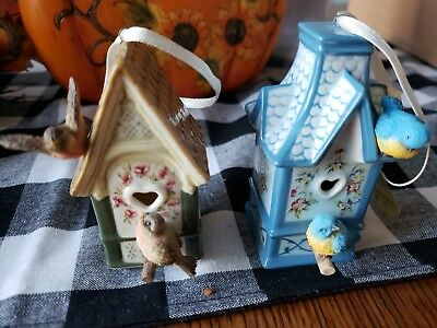Two Beautiful Spring Blossom Cottage Heirloom Porcelain Birdhouse Ornaments