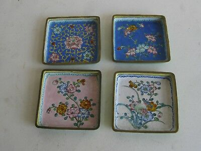 Fine Old Antique Chinese Canton Enamel on Brass Art Dish Tray Bowl Set of 4 RARE
