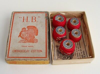 Antique HB Turkey Red Embroidery Cotton Thread Wood Spools in Original Box