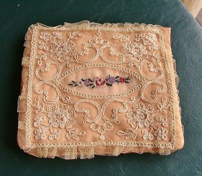 Antique Petit Point Roses & Tambour Net Lace Silk Handkerchief Holder Keeper