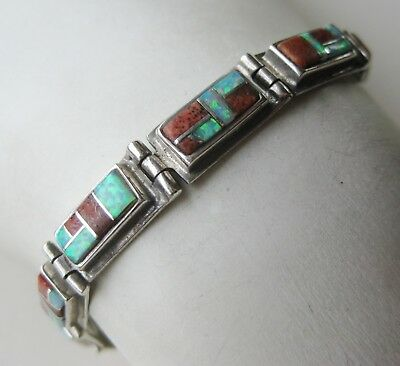 Vtg Zuni Indian Sterling Silver Coral Fire Opal Inlay Toggle Clasp Link Bracelet