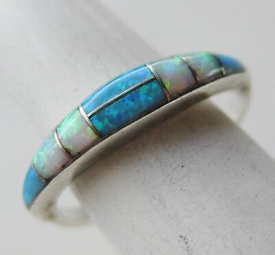 Vintage Zuni Indian Sterling Silver Channel Inlay Fire Opal Band Ring sz 6