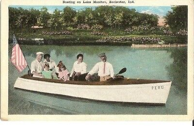Vintage Postcard Rochester Indiana Boating on Lake Manitou
