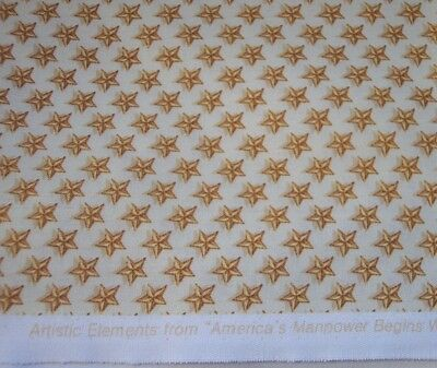 Quilt Fabric BOY SCOUTS of AMERICA Manpower Begins With Boy Power GOLD STARS