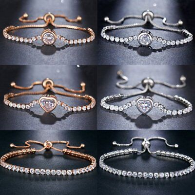 Fashion Shiny Cubic Zircon Tennis Bracelet Bangle Adjustable Women Charm Jewelry