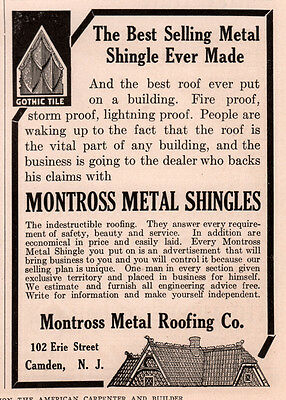 Ad Lot Of 4 1905 - 1915 Ads Montross Metal Roofing Co Camden Gothic