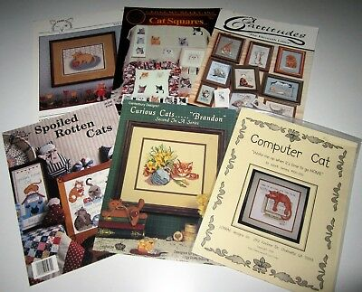 Lot of 6 Vintage Asst CAT Counted X Stitch Leaflets SPOILED ROTTEN CATS and MORE