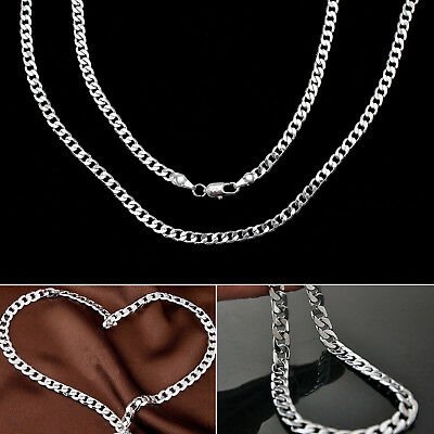 "Men'S Solid 925 Sterling Silver Curb Chain Necklace 18"" 20"" 22"" 24"" Chains"