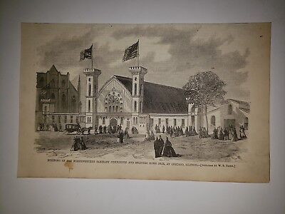 Northwestern Sanitary Commission Soliders Home Fair Chicago Civil War 1865 Sketc