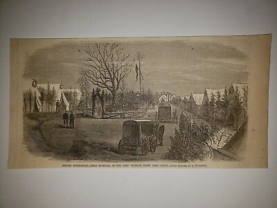 Battle of Petersburg Field Hosptial 9th Army Corps Civil War 1865 HW Sketch RARE