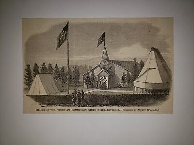 Chapel of the Chirstian Commission Ninth Corps 9th EXT Civil War 1865 HW Sketch