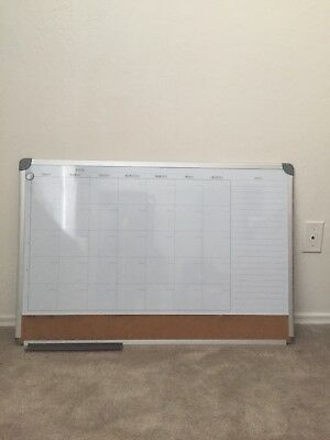 Whiteboard Calendar Dry Erase Board  w/ Cork Board And Marker Included