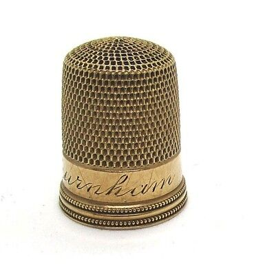 10K Yellow Gold Thimble / Inscribed H.E. Burnham 2.8 grams size 9