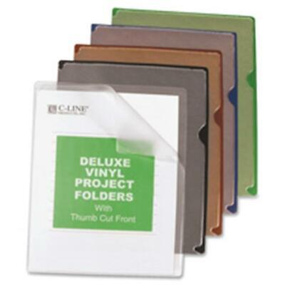 C-Line CLI62150 Vinyl Project Folders with Color Backs, 8.5x11 in. 35-BX AST