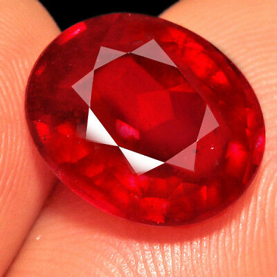 5.25Ct 12x10mm Natural Mozambique Blood Red Ruby Faceted Cut QHB670