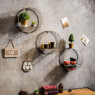 Retro Industrial Metal Wall-Mounted Circular/Round Wooden Shelf with Mesh
